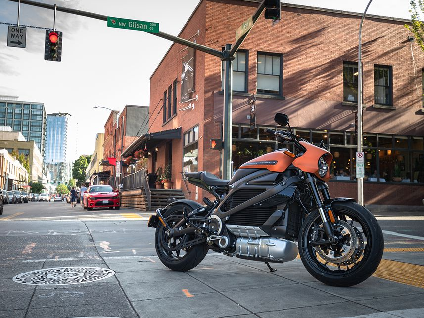2020 Harley-Davidson LiveWire in middle of street.