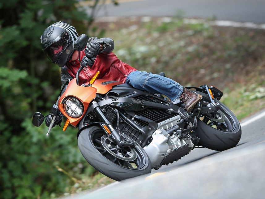 2020 Harley-Davidson LiveWire riding on road.